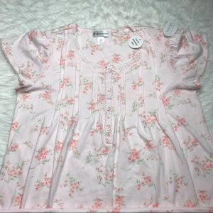 Miss Elaine Silky Knit Floral Nightgown Small NEW